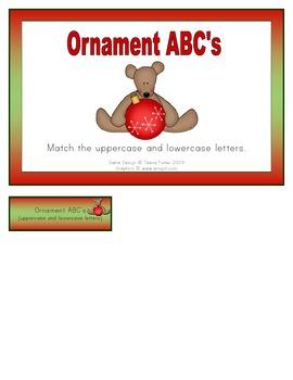 Ornament ABC File Folder Game Literacy Center FREEBIE