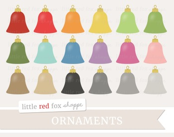 Bell Ornament Clipart; Christmas, Holiday, Tree