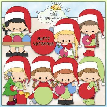 Ornament Girls Clip Art - Christmas Clip Art - CU Clip Art & B&W