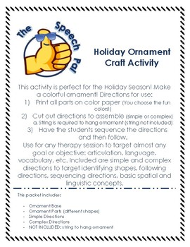 Ornament Holiday Activity - Language, Articulation, & More!