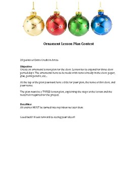 Ornament Lesson Plan Contest