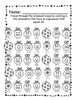 Ornament Maze - Practice Addition Facts 10 - 20