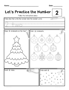 Ornament Number Worksheets to 20