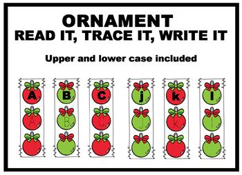 Christmas ornament Read It, Trace It, Write It Letters