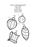 Ornaments Coloring Page with Parts of Speech