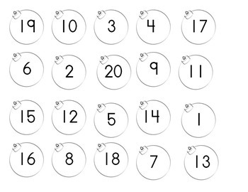 Ornaments Number Sequence 1-20