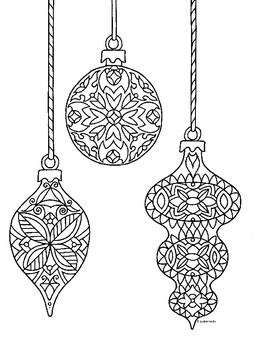 Christmas Ornaments Zentangle Coloring Page by Pamela ...