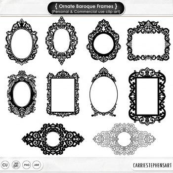 Ornate Baroque Frames, Gothic Labels Digital Stamp, Decora