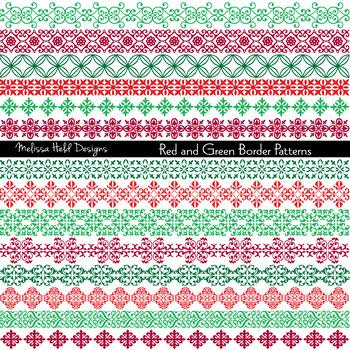 Clipart: Ornate Christmas Border Patterns Clip Art