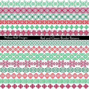 Red and Green Digital Border Patterns