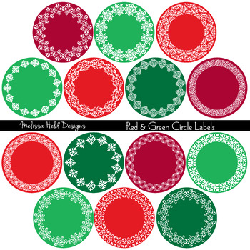 Clipart:  Christmas Red Green Circular Labels Clip Art