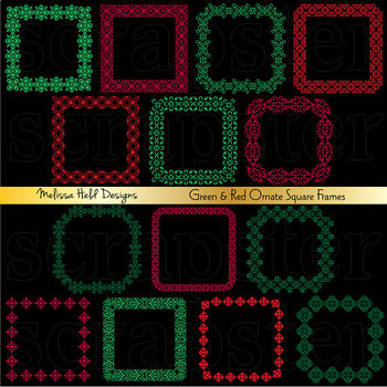 Clipart:  Christmas Red Green Square Frames Clip Art