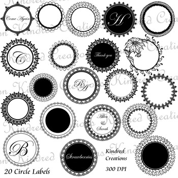 Ornate Circle Labels Set 1