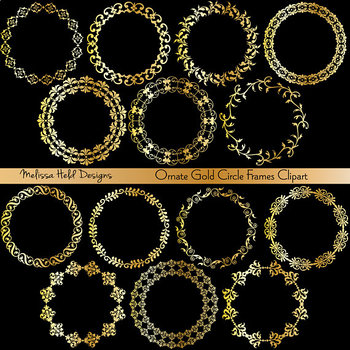Clipart:  Gold Circular Frames Clip Art