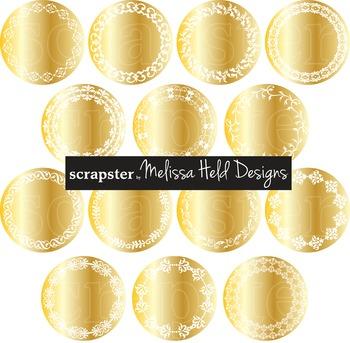 Clipart: Gold Circular Labels Clip Art