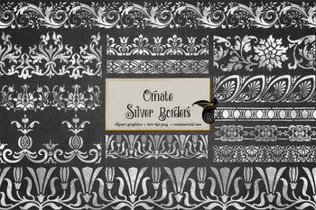 Ornate Silver Borders Clipart