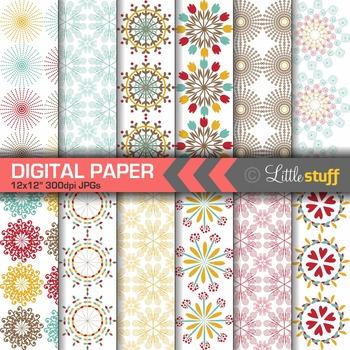 Ornate Sprial Patterns Digital Papers