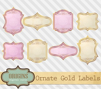 Ornate vintage pink and gold rustic shabby chic valentine frames labels clipart