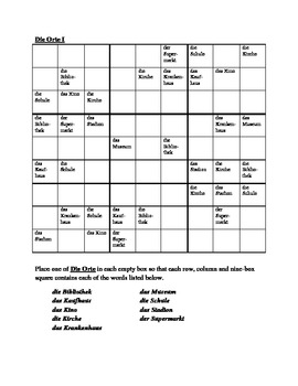 Orte (Places in German) Sudoku