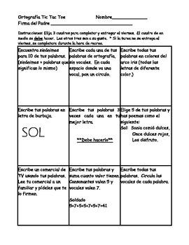 Ortografia Deletrear Menus Centros-Tic Tac Toe