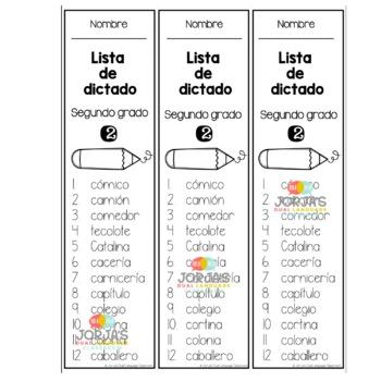Ortografía Segundo Grado Spelling List Spanish