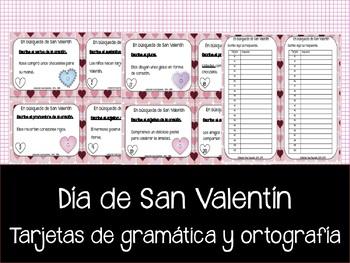 Ortografía y gramática -  Día de San Valentín - Tarjetas con ejercicios.