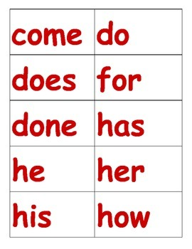 Orton Gililngham Stage 1 Red Words (HFW, Non-Decodable) Checklist and Word Wall