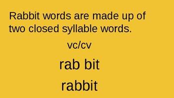Orton Gilligham Rabbit Words
