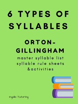 Orton-Gillingham Activities: 6 Types of Syllables