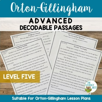 Orton-Gillingham Activities: ADVANCED Decodable Reading Passages LEVEL FIVE