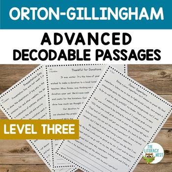 Orton-Gillingham Activities: ADVANCED Decodable Reading Passages LEVEL THREE