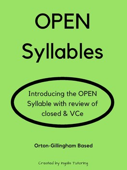 Orton-Gillingham Activities: Open Syllables