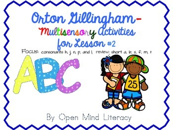 Orton Gillingham Activities for Lesson #2; {consonants h, j, n, p, and l}