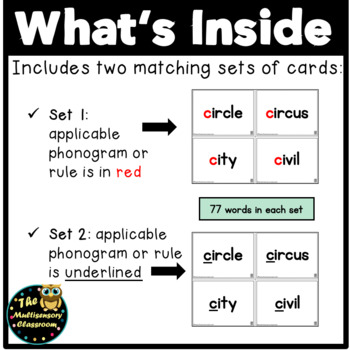 Orton-Gillingham Additional Sounds Word Cards