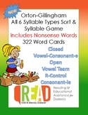 Orton-Gillingham All 6 Syllable Types Sort and Game