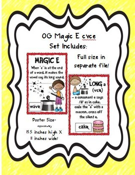 Orton Gillingham BIG Magic E cvce Poster Set!