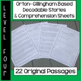 Orton-Gillingham Based Stories & Comprehension Sheets: Level Four