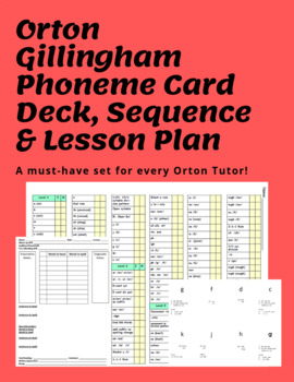 Orton Gillingham sequence, ALL phoneme card deck, and reproducible