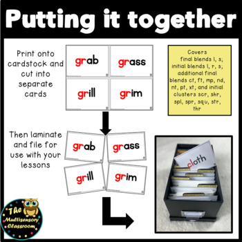 Orton-Gillingham Blends and Clusters Word Cards