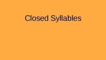 Orton Gillingham Closed Syllables