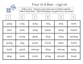 Four-in-a-Row Phonics Game - -ng & -nk blends