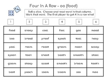 Four-in-a-Row Phonics Game - oo (food) vowel team
