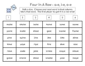 Four-in-a-Row Phonics Game - silent e (a-e, i-e, o-e)