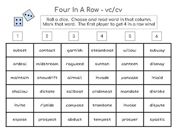 Four-in-a-Row Phonics Game - vc/cv syllable division