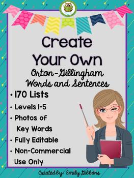 Multisensory Phonics Orton-Gillingham Word Lists EDITABLE Levels 1-5