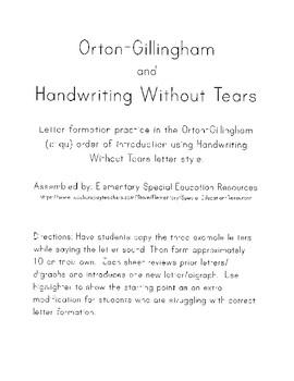 Orton-Gillingham Handwriting Practice (c-qu)