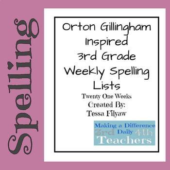 Orton Gillingham Inspired 3rd Grade Spelling Lists