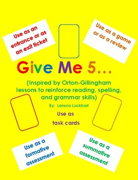Orton-Gillingham Inspired Give Me 5 Game Cards