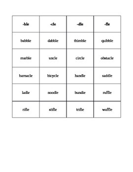 Orton-Gillingham Inspired Word List consonant +le (-ble, -cle, -dle, -fle)
