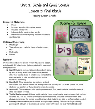 Orton Gillingham Lesson: Final Blends